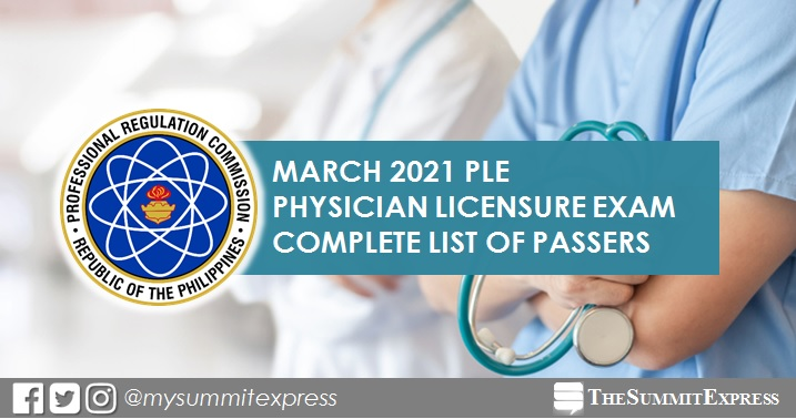 PLE RESULT: March 2021 Physician board exam list of passers, top 10