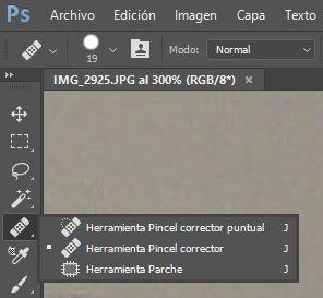 Herramientas correctoras Pincel y Parche en Photoshop