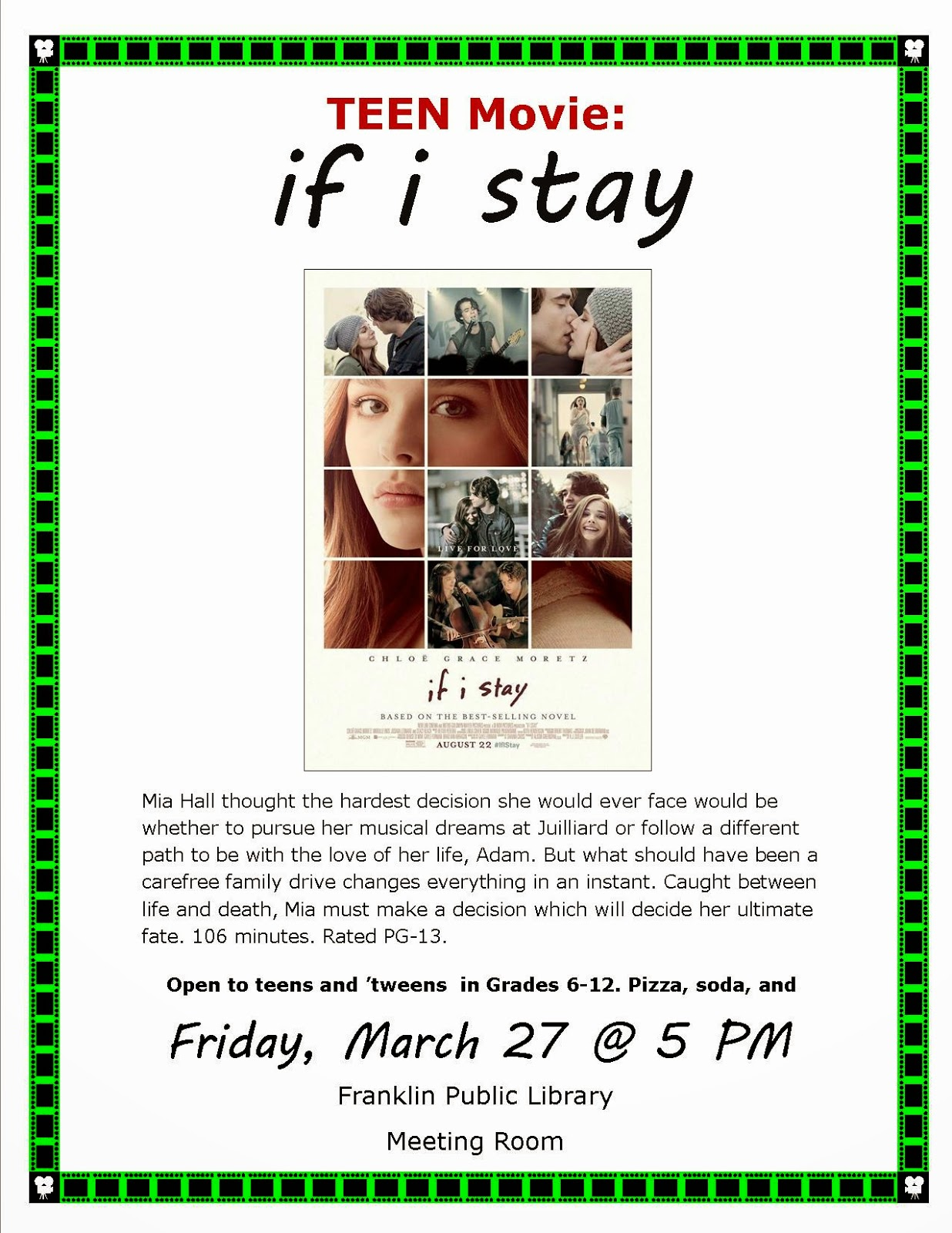 If I Stay - Teen movie at 5:00 PM Fri 3/27