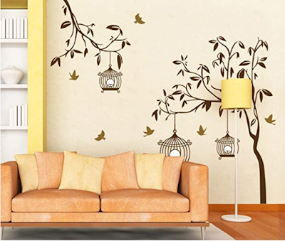 Decals Design StickersKart Wall Stickers Tree and Birds  and Cages
