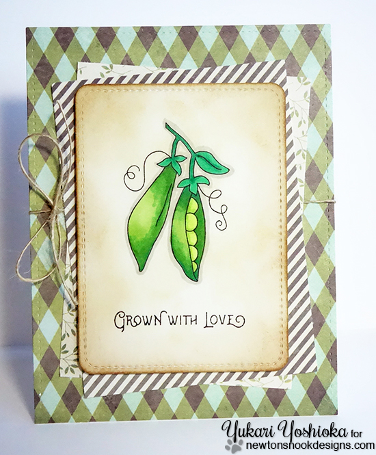 Grown with Love Pea Pod card by Yukari Yoshioka | Vegetable Garden stamp set by Newton's Nook Designs #newtonsnook