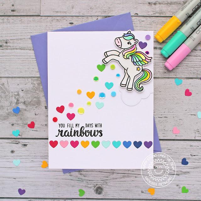 Sunny Studio Stamps: Heartstring Border Dies Prancing Pegasus Everyday Card by Vanessa Menhorn