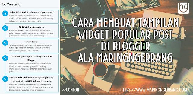 Membuat Widget Popular Post Keren Ala Maringngerrang Blog
