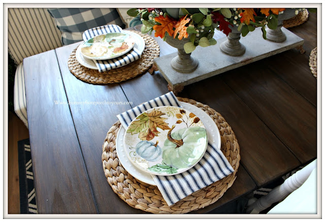 Fall- Pumpkin -Plates-French- Country -Tablescape- Cottage-Famrhouse-Blue-White-Decor--From My Front Porch To Yours