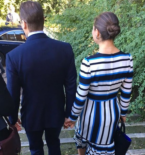 Crown Princess Victoria wore Dolce and Gabbana dress, By Malene Birger shoes, gold diamod earrings