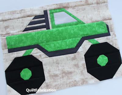 green monster truck quilt block
