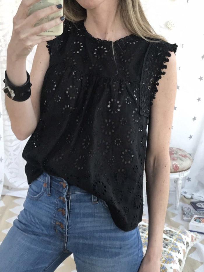 Blusa de broderie negro moda primavera verano 2020. Blusas de moda 2020.