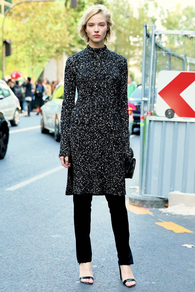 2 Ways to Wear a Sweater Dress for Fall — Sasha Luss In Black Pants and Strappy Heels