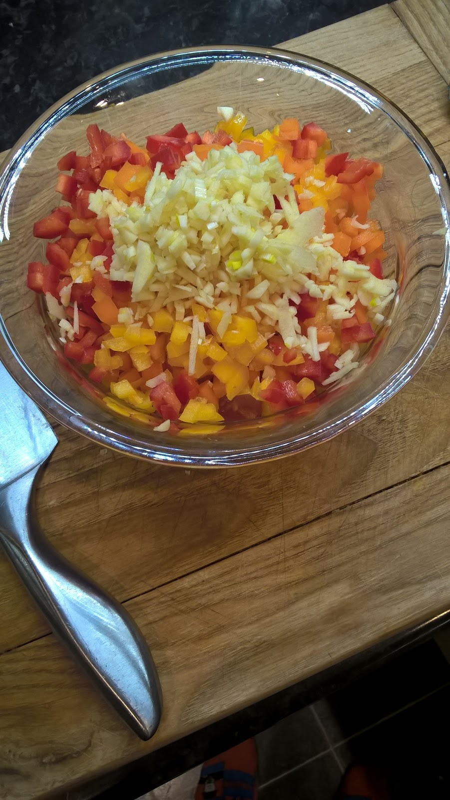 Freshly chopped tomatoes, garlic and peppers - motherdistracted.co.uk
