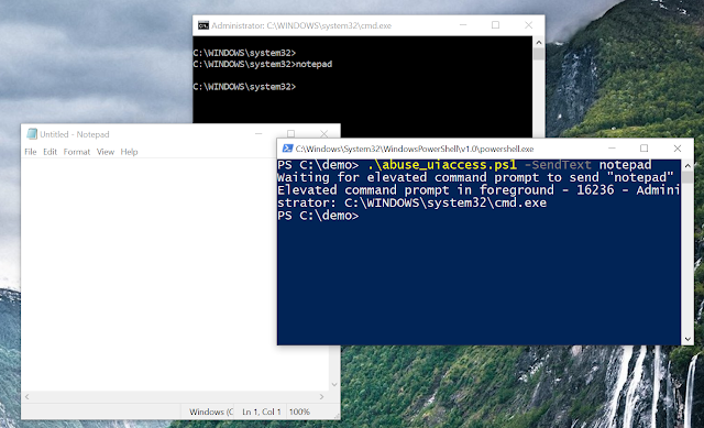 Screenshot showing the results of the script with notepad run elevated via an elevated command prompt.