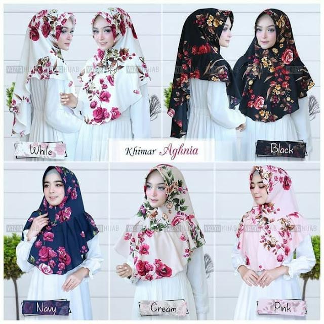 Jilbab Instan Syari Murah Motif Bunga Aghnia Timbul Terbaru