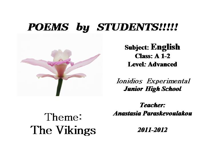ENGLISH CORNER IONIDIOS EXPERIMENTAL HIGH SCHOOL: POEMS BY