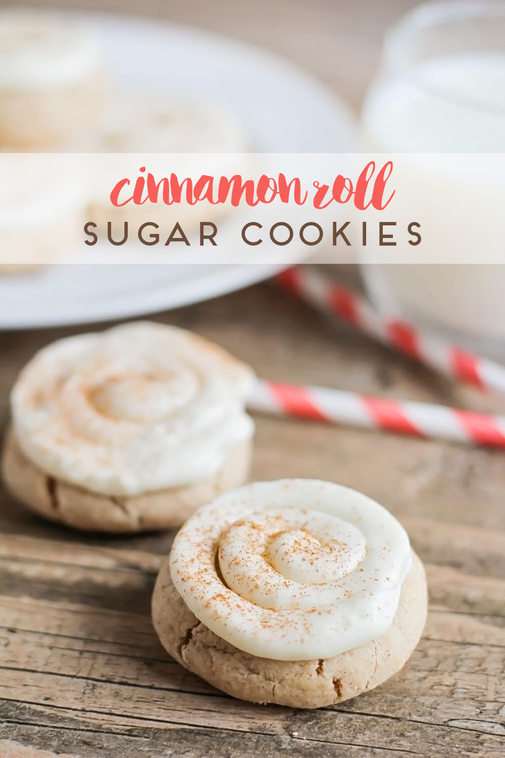 Cinnamon roll sugar cookies - buttery cinnamon sugar cookies topped with cream cheese icing and a sprinkle of cinnamon. So amazingly delicious!