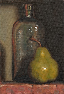 Still life oil painting of an antique clear glass bottle beside a green pear.