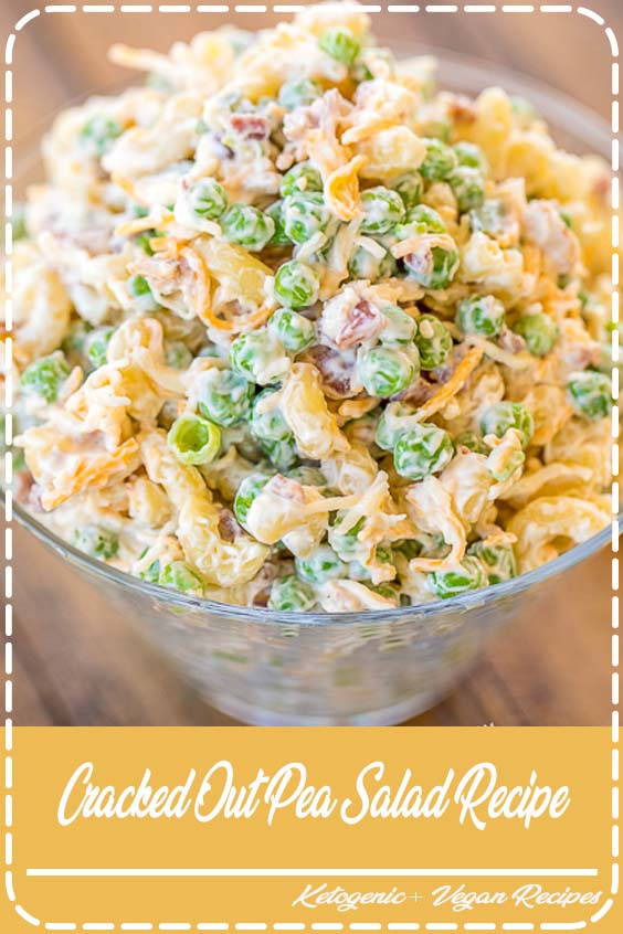 Macaroni and green peas tossed in mayonnaise Cracked Out Pea Salad Recipe