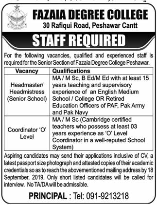 Fazaia Degree College Jobs Peshawar Cantt September 2019