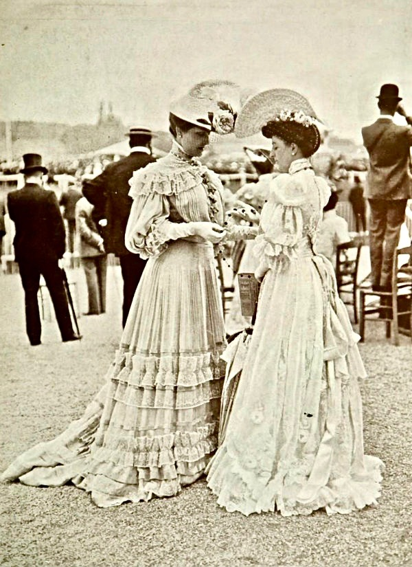 Vintage Photo. Two Edwardian Era friends meet at an outdoor event. Manners, A Word to Women by Mrs. C. E. Humphry, 1898. marchmatron.com