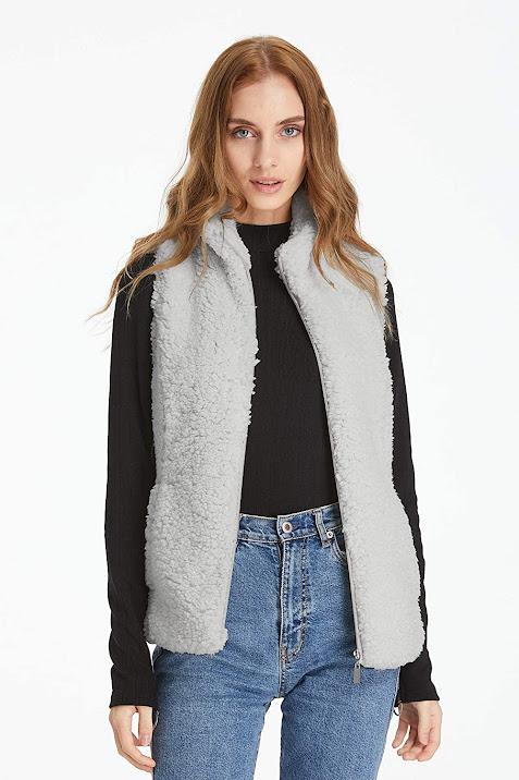 Grey Faux Fur Vest Sleeveless Waistcoat Jacket For Women