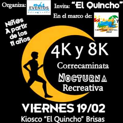 8k y 4k Correcaminata nocturna Sol, arena y algo más (Nueva Palmira, Colonia, 19/feb/2016)