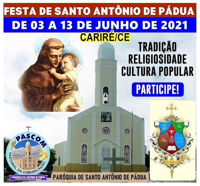 Paróquia e autoridades de Cariré decidem a realização da Festa de Santo Antônio de 03 a 13 de junho, mas, as  normas contra a Covid-19 serão obedecidas
