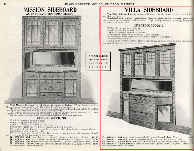Sears Craftsman style oak Villa Sideboard in 1912 building supplies catalog
