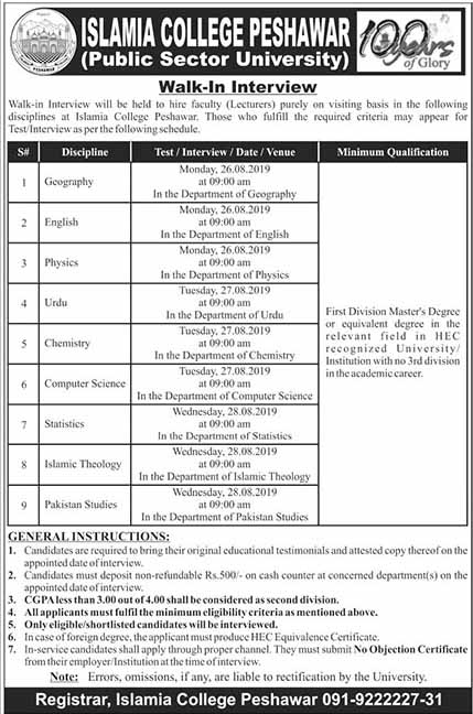 Jobs in Islamia College in Peshawar August 2019