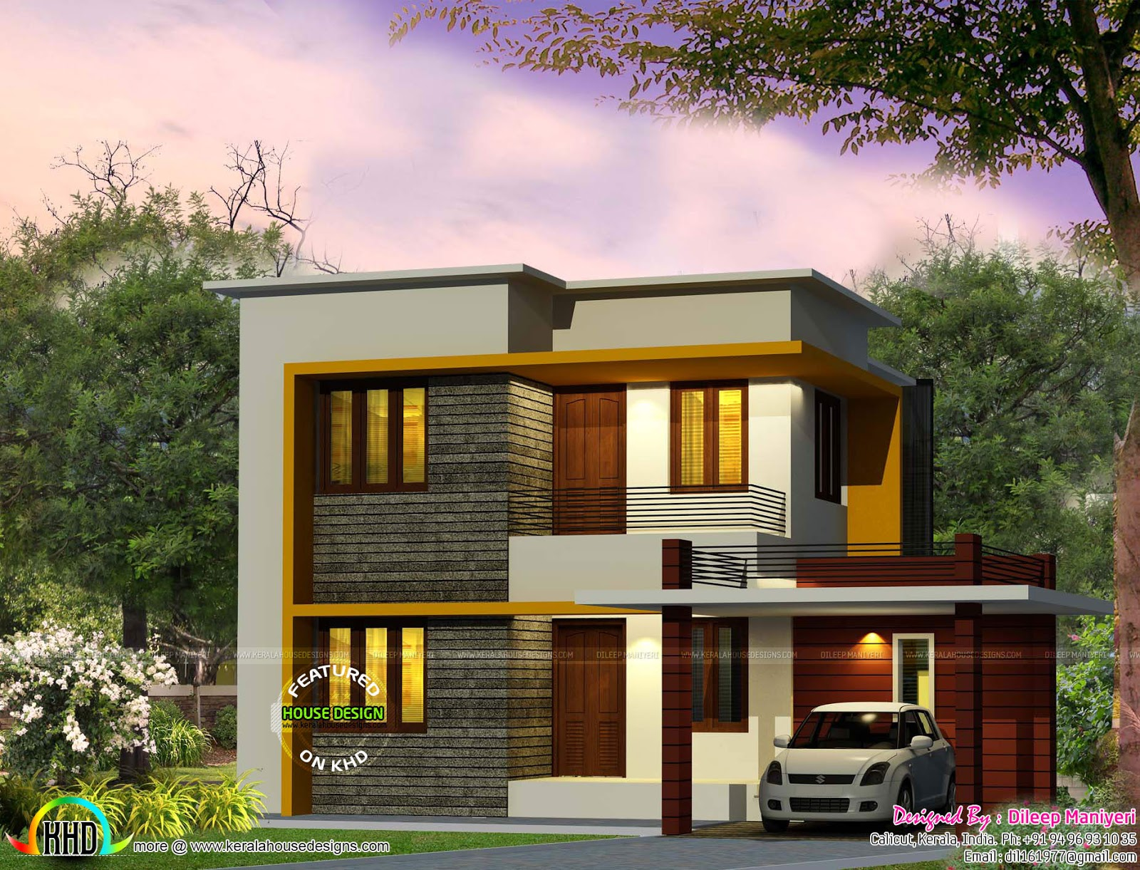 Cute 4 bedroom modern house 1670 sq ft kerala home for Modern 2 bedroom home designs