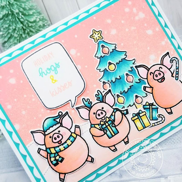 Sunny Studio Stamps: Hogs & Kisses Frilly Frame Dies Seasonal Trees Woodland Border Dies Santa Claus Lane Winter Themed Holiday Card by Ana Anderson