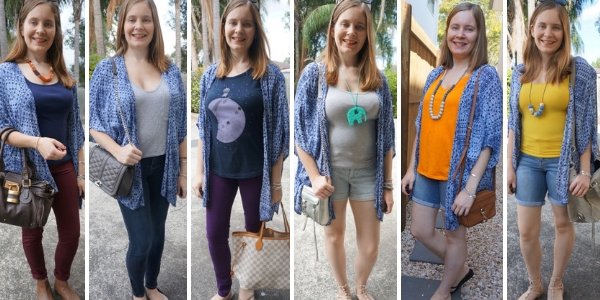 6 outfit ideas with navy printed kimono and denim spring and summer | awayfromblue