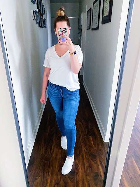 White Tee and Jeans Outfit || Tori's Pretty Things