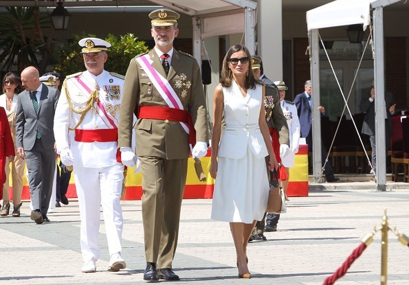 Queen Letizia of Spain wore Felipe Varela dress and Carolina Herrera suede pumps, carried Carolina Herrera bag from Camelot collection