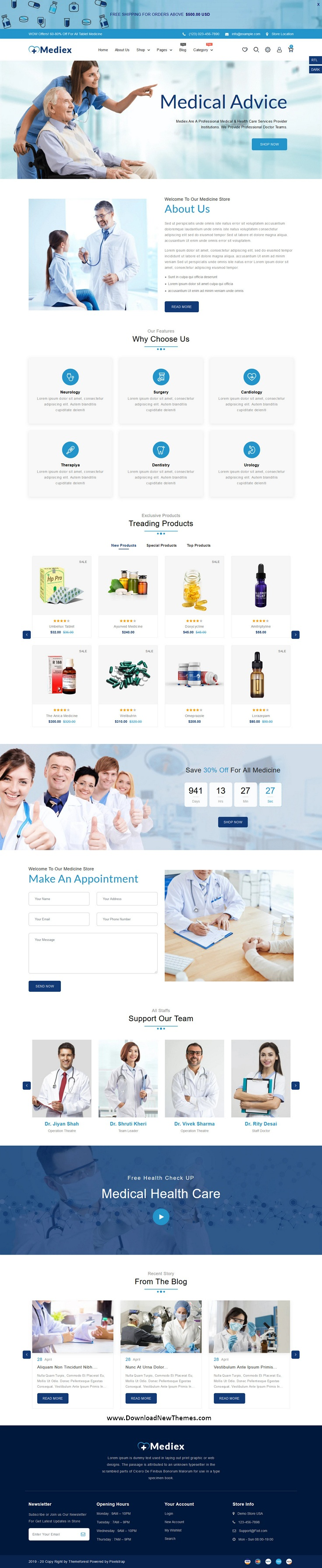 Medical Shop Website Theme