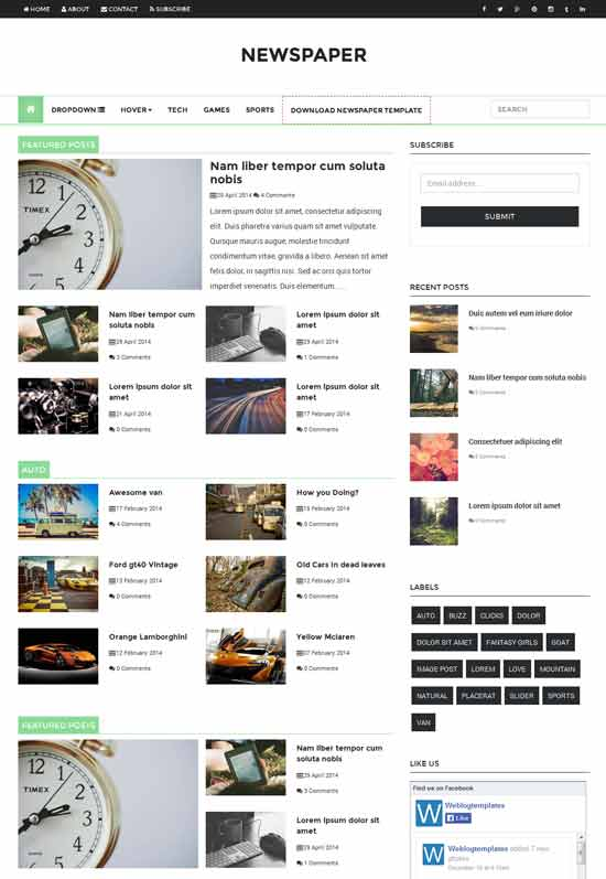 Newspaper responsive blogger template a2z blog template for News site template free download