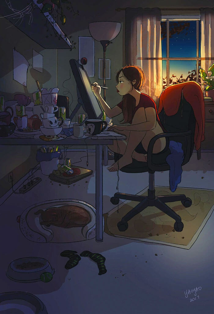 20 Beautiful Illustrations That Show What's Like To Live Alone - Working Whenever You Feel Like It