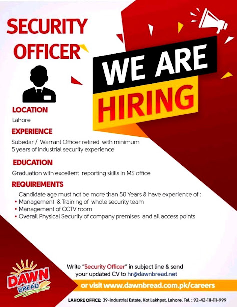 Latest Dawn Bread Jobs- Security Officer Jobs July 2021