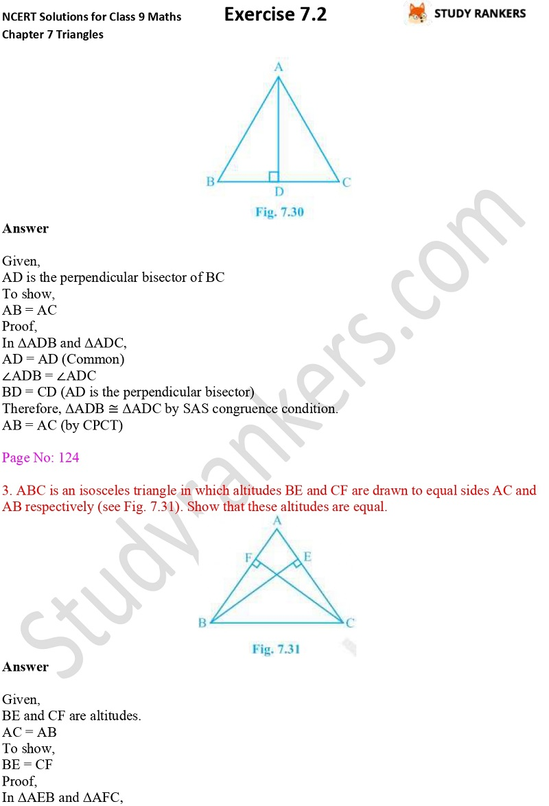NCERT Solutions for Class 9 Maths Chapter 7 Triangles 7.2 Part 3