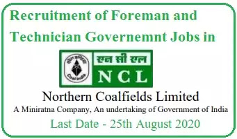 Foreman and Technician Jobs in Northern Coalfields 2020