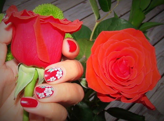 A Red Mani with Flowers, Why Not?