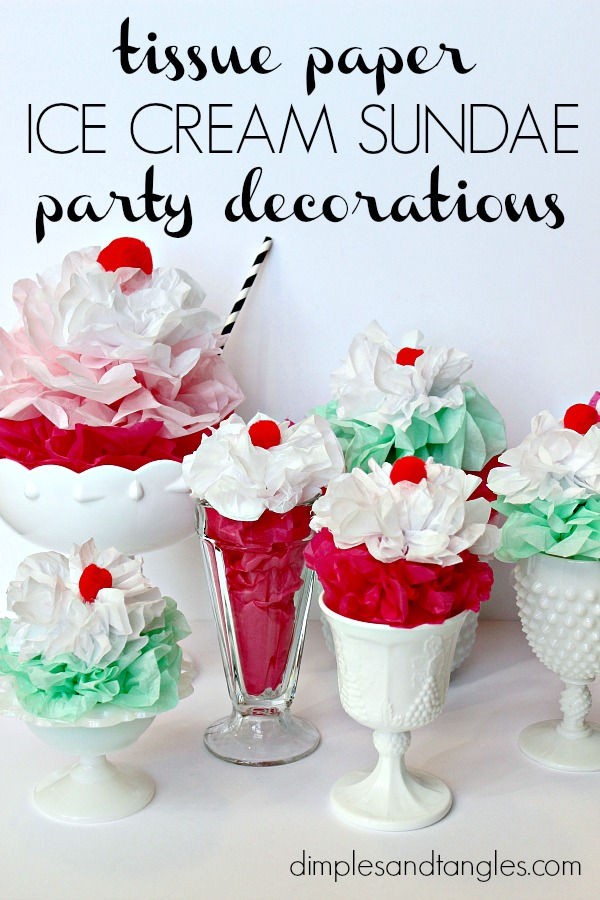 milk glass, ice cream party decorations, tissue paper ice cream sundaes, church banquet decorations