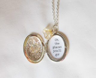 image locket necklace quote dr seuss oh the places you'll go silver floral botanical two cheeky monkeys