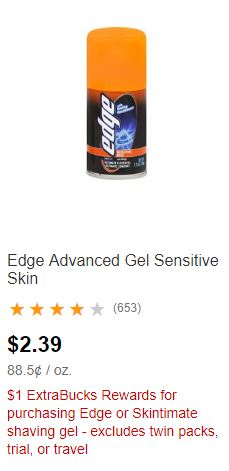 Edge or Skintimate shaving gel.