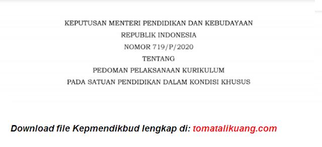 kepmedikbud nomor 719-p-2020 tahun 2020 tentang pedoman pelaksanaan kurikulum dalam kondisi khusus pdf tomatalikuang.com