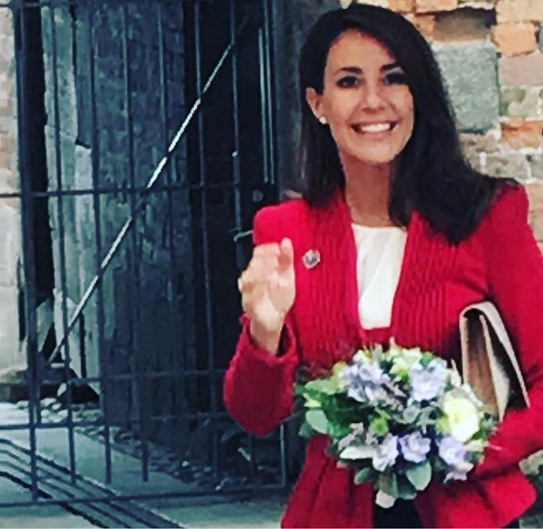 Princess Marie wore Giorgio Armani red blazer, Tara Jarmon blouse, Jimmy Choo suede pumps and carried By Malene Birger clutch. Diamond tiara
