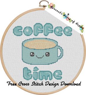 kawaii coffee cup coffee time cross stitch chart free to download