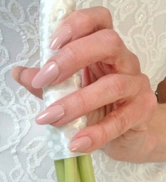 pink nude bride nails