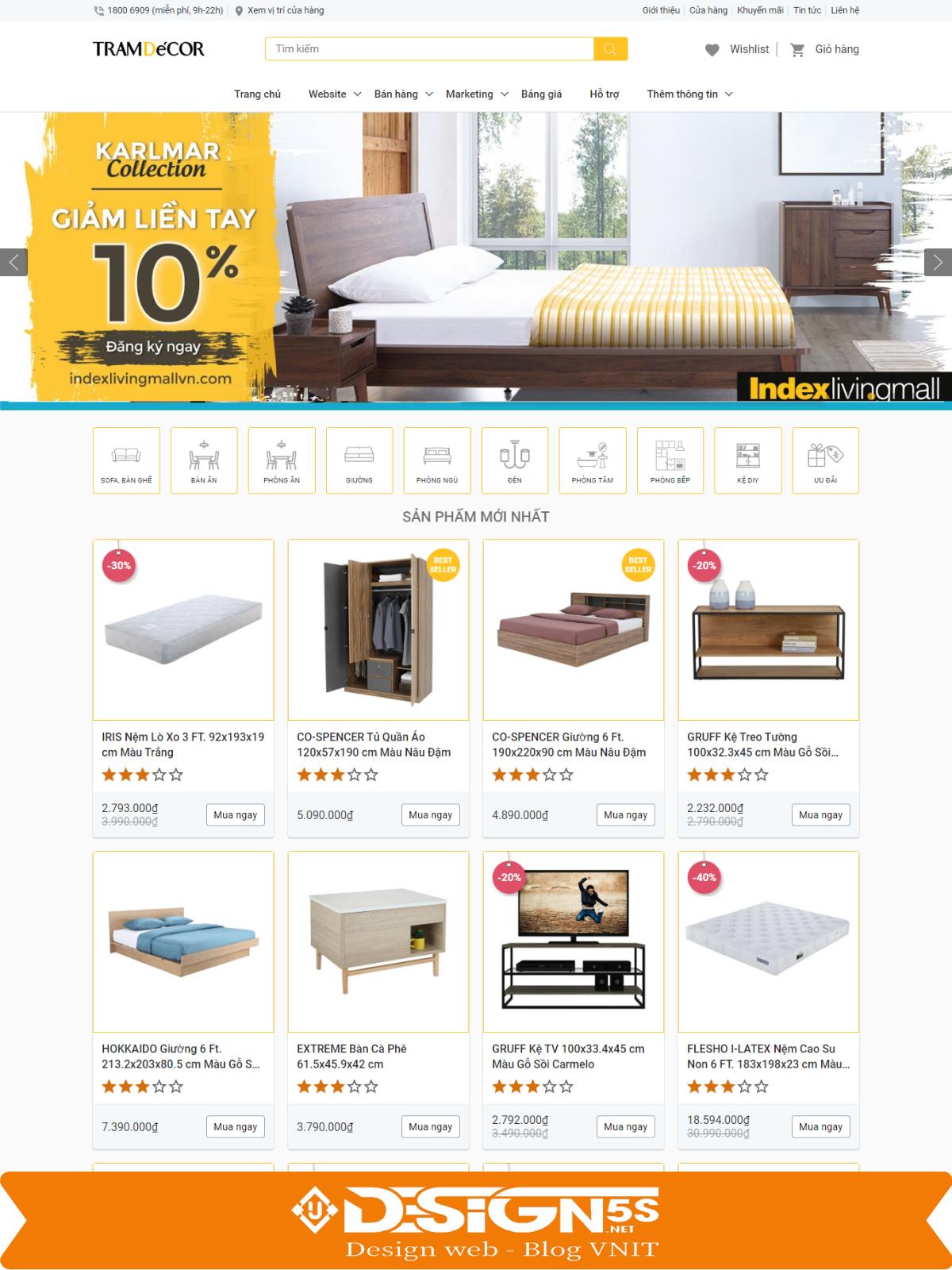Mẫu Website bán hàng nội thất đẹp chuẩn seo - Ảnh 1
