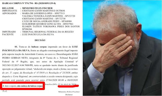 BOMBA!! STJ nega HC a Lula, PT se desespera e grande imprensa oculta a notícia