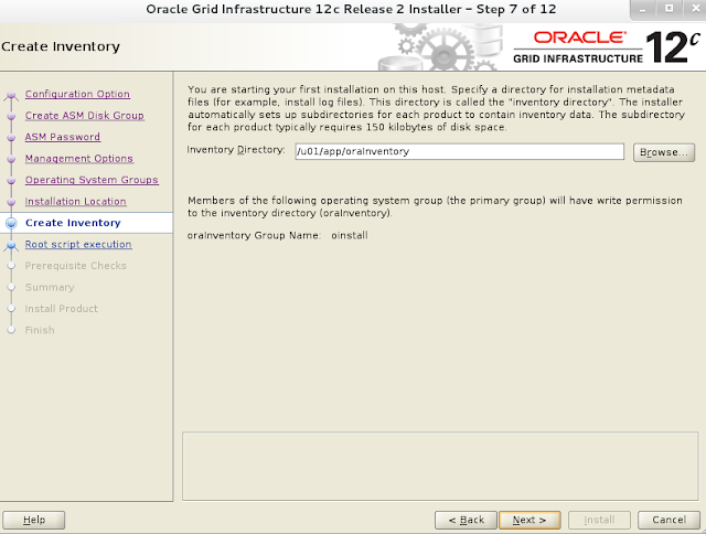 Oracle 12c grid infrastructure installation wizard screen 8