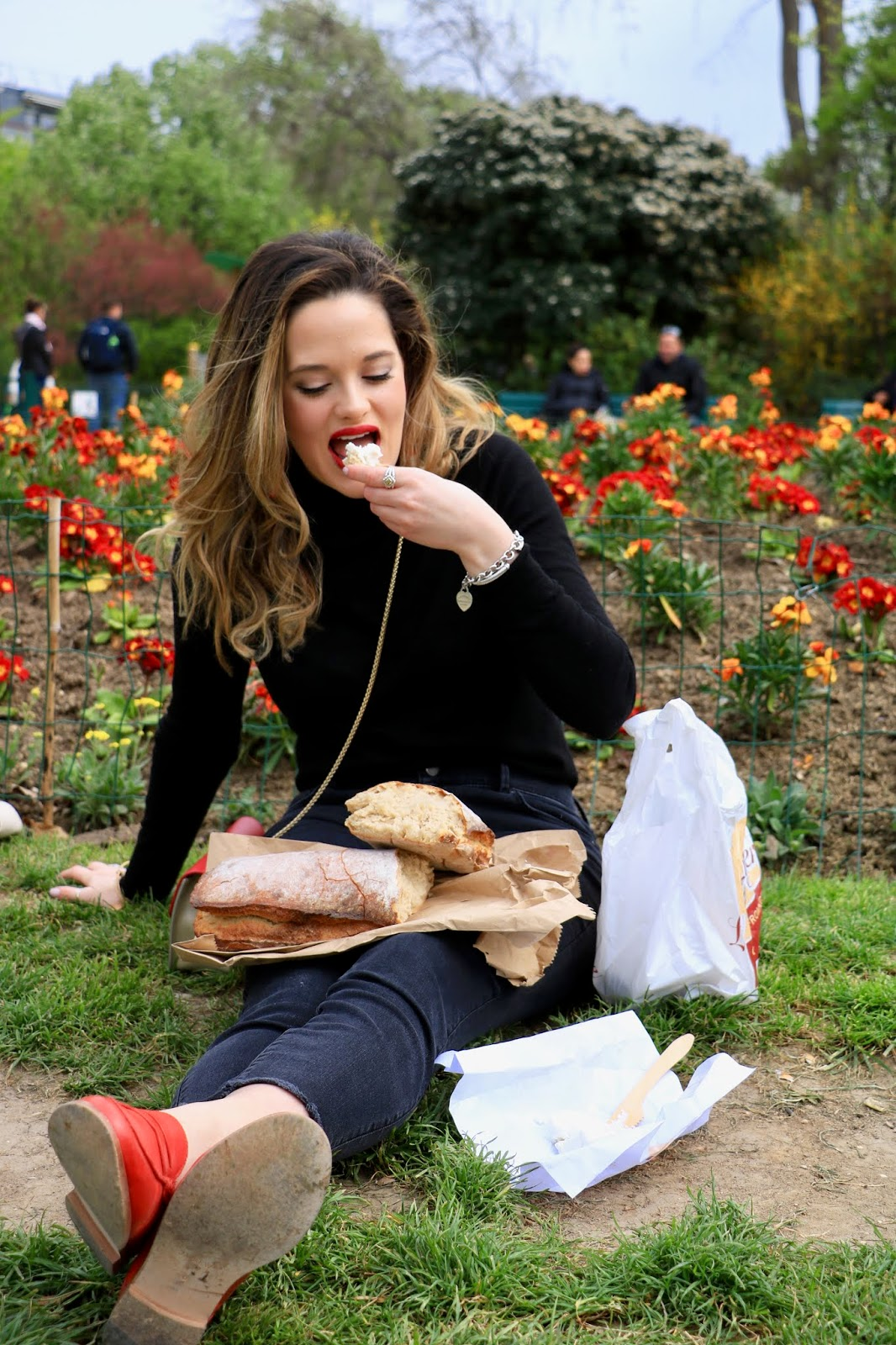 Eiffel Tower picnic of bread cheese