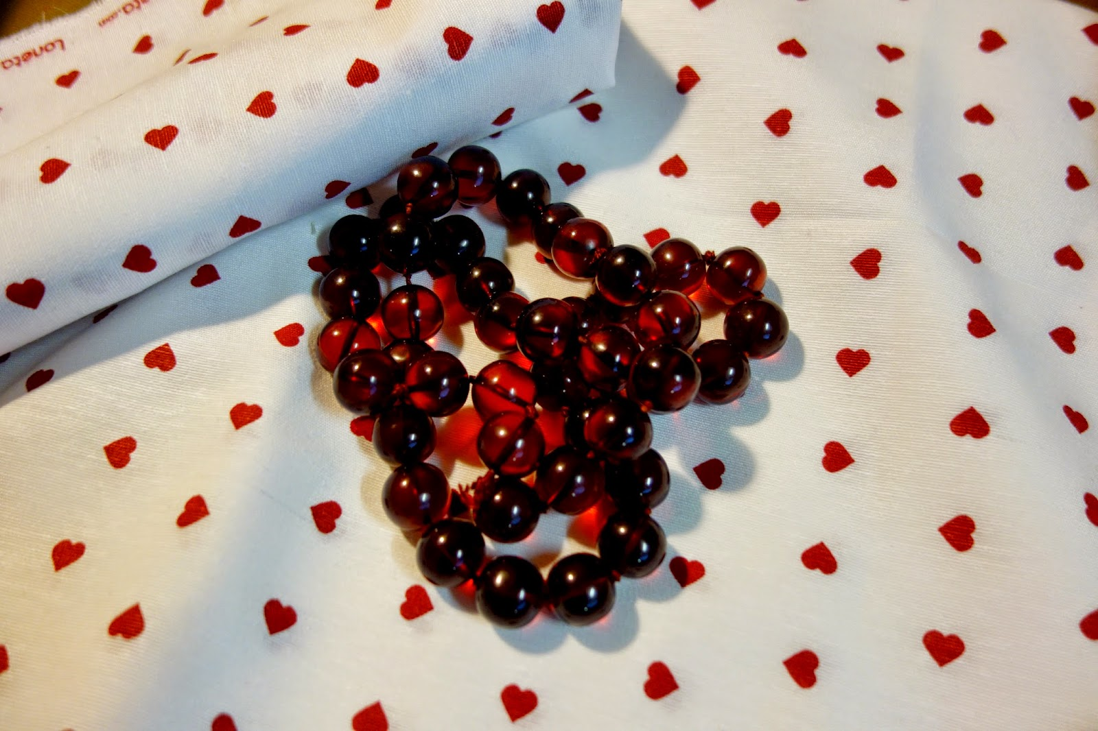 Red beads and Fabric ~ Colmar ~ Making on the Mountain ~ cymberrain